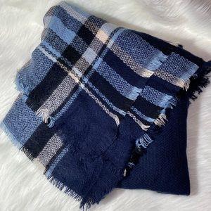 NWT Plaid Scarf Wrap Blanket Neck Tie Fringe Shawl